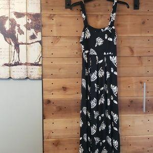 Loft Black & White Printed Maxi Dress